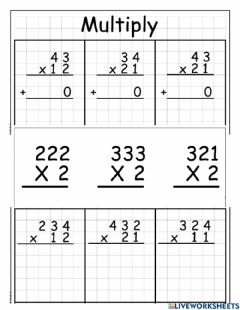 Interactive worksheet Multiplication without and without regrouping