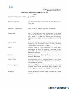 Interactive worksheet Intro. to Business Management Review