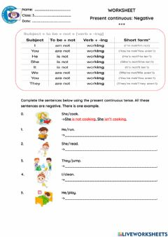 Interactive worksheet Present Continuos ( negative)