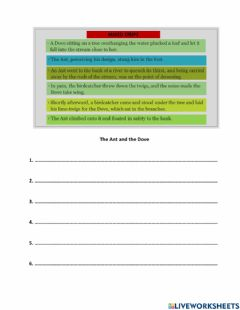 Interactive worksheet Rearrange the following sentences to make a stoty.