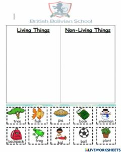 Ficha interactiva Sorting living and non-living things