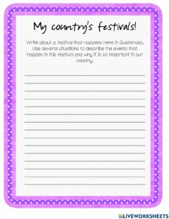Interactive worksheet My country's festivals