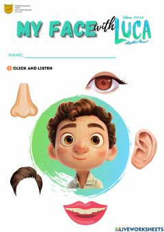Interactive worksheet My Face with Luca