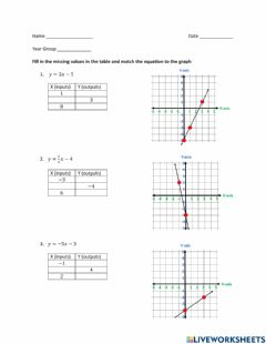 Interactive worksheet Graph - Fill in Table and Match Graph