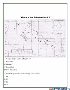 Interactive worksheet Where is The Bahamas Part B