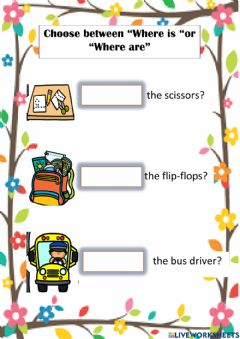Interactive worksheet Where is or Where are