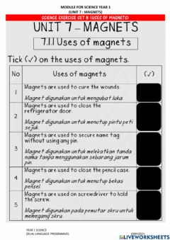 Ficha interactiva Science Year 1 : Uses Of Magnet