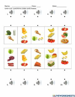 Interactive worksheet Unit 4.10: Lunchtime.Listen and choose: