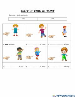 Interactive worksheet Unit 3 This is Tony - Lesson 2