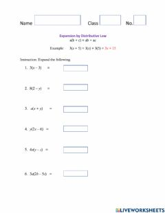 Ficha interactiva Expansion by Distributive Law