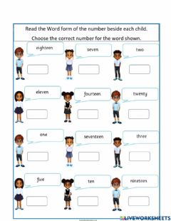 Interactive worksheet Recognizing Numbers for number words