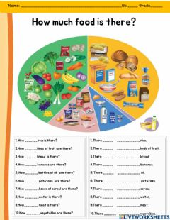 Interactive worksheet How much food is there?