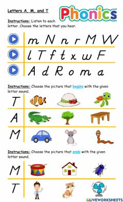Interactive worksheet Letters A, M, and T