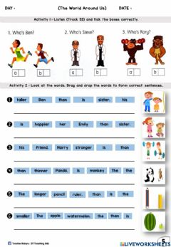 Interactive worksheet The World Around Us (Listen and Tick, Drag and Drop)