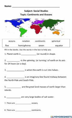 Interactive worksheet The Earth- Continents Oceans and Hemispheres