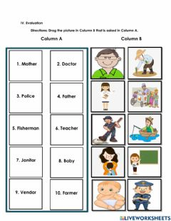 Interactive worksheet Naming Words for Person