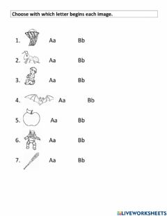 Interactive worksheet Letters Aa, Bb