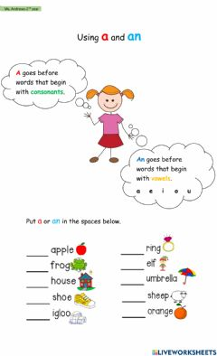Ficha interactiva Using A and An