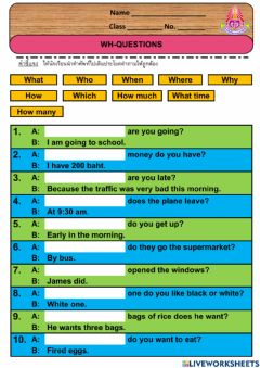 Interactive worksheet Wh - Questions