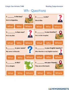 Interactive worksheet Wh questions what? who? where?
