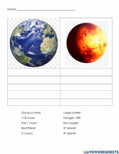 Interactive worksheet Earth and Mars