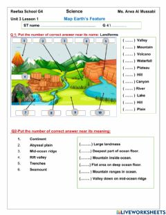 Interactive worksheet Earth map feature L1 U3