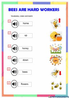 Ficha interactiva Reading : bees are hard workers  123