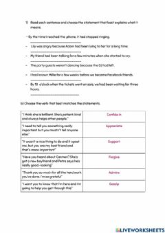 Interactive worksheet Review of Past Perfect