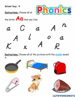 Interactive worksheet Letter A (middle sound - short A)