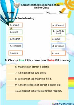 Interactive worksheet The magnets