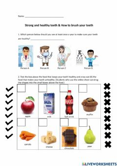 Interactive worksheet Strong and healthy teeth & how to brush teeth