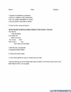Interactive worksheet Activity games for childrens day