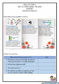 Interactive worksheet Unit 13: Overcoming the Odds 127