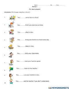 Interactive worksheet Exercise1 Must or Mustn't