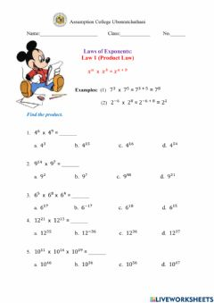 Ficha interactiva Product Rule (Laws of Exponents) worksheet