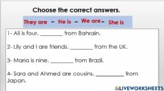 Interactive worksheet They are from Australia