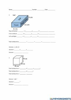 Ficha interactiva Surface Area and Volume of a Cuboid and Cube