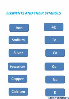 Ficha interactiva Match the following elements with their symbols