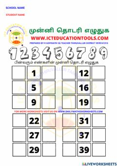 Interactive worksheet Class 1 numbers tamil