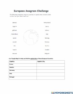 Interactive worksheet European Countries and Cities