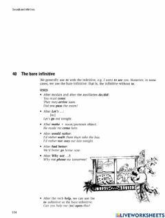 Interactive worksheet 40 The bare infinitive