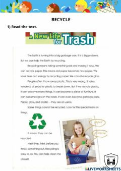 Interactive worksheet Recycle reading
