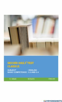 Interactive worksheet Second daily test of kd 3.3 and 3.4