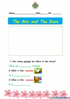 Interactive worksheet The ant and the dove