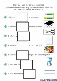 Interactive worksheet How do I use my school supplies?