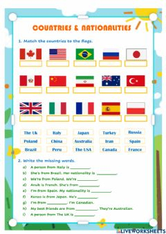 Ficha interactiva ELT nationalities and countries 5º