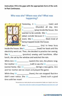 Interactive worksheet Past Continuous Story