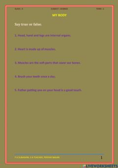 Interactive worksheet My Body, Class - 4, Science