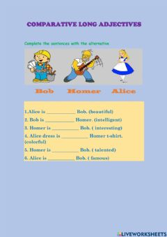 Interactive worksheet Comparative long adjectives
