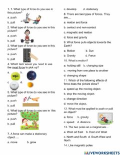 Ficha interactiva Force and Motion Quiz